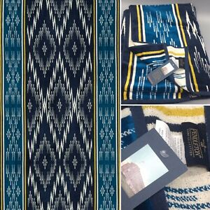 Pendleton Spa Bath Towel Beach Mendoza Trail Southwest Jacquard Blue Yellow NEW