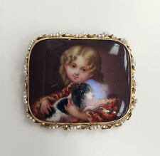 Exquisite Hand Painted Portrait Cameo Classic Child w/ Dog Brooch Pendant 14K YG