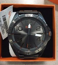 Hugo Boss Orange Black Ionic Plated Grey Steel Strap Watch 1512999 MSRP $225.00
