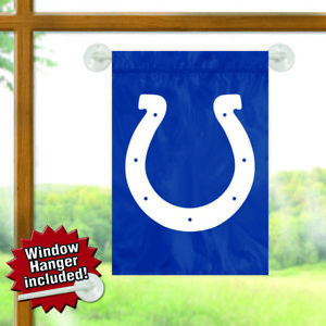 """2 Indianapolis Colts NFL Mini Flag Garden or Window 15"""" x 10.5"""" Window Hanger"""
