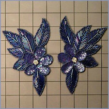 SEQUIN BEADED SAPPHIRE IRIS FLOWER PAIR APPLIQUES 2145-H