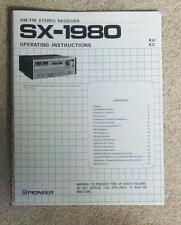 Pioneer SX-1980 Owner/User Manual w/Schematics FREE US SHIPPING!