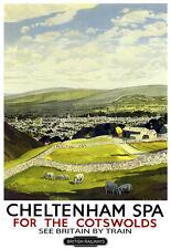Cheltenham spa para los Cotswolds británico Ferrocarriles Tren Ferrocarril viajar cartel impresión
