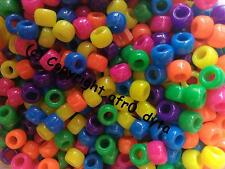 100 Pony Beads Mixed 9x6mm Barrel Shape For Jewellery Making BUY 3 FOR 2