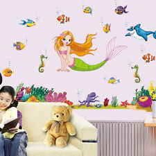 Ocean Fishes Mermaid Wall Decals Baby Kids Room Nursery Sticker Art Gift