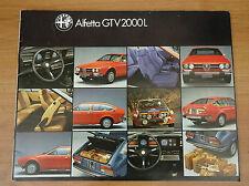 ALFA ROMEO ALFETTA COUPE gtv2000l UK Opuscolo di mercato circa 1978-1979 24 pagine
