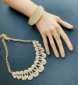 Necklace, Bangles And Ring Set In Gold Colour