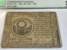 May 1775 , thirty dollars contential currency  , PMG AU50
