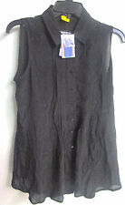 NWT LADIES FEVER  BLACK SLEEVELESS LONG TUNIC TOP SIZE SMALL--511