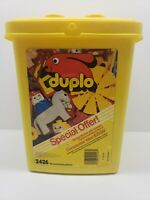 Large Lot 126 Piece Vintage Genuine LEGO DUPLO Mixed Blocks with Case A0009