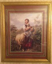 HOME INTERIORS SHEPHERD FRAMED 35.5 X 25.5 WALL ART GIRL LAMB SHEEP MEADOW FIELD