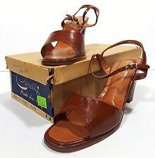 Vintage Corelli Brown Leather Sandals + Box Sz 8.5 Shoes Heels Pumps Brazil Made