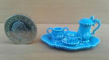 WEDGWOOD STYLE BLUE JASPERWARE MINIATURE (DOLLS HOUSE) TEA SET. (TINY)