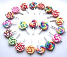 🍭🍭🍭WHOLESALE 20 GORGEOUS LOLLIPOP RAINBOW CHARMS POLY CLAY FIMO 🍭🍭🍭