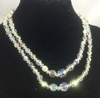 Vintage Necklace Austrian Crystal Aurora Borealis Glass Graduated 2 Strand NABA2