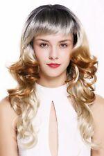 Women's Wig Long Fringe Curls Ombre Black & 3 Blonde Tones 55 CM
