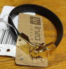LINEA PELLE Black Leather Bracelet M/L Belt style Gold Tone Closure