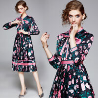 Spring Summer Fall Runway Floral Print Bow Tie Neck Long Sleeve Women Midi Dress