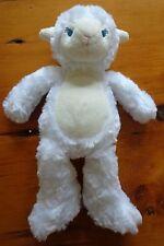 "Pickles White Lamb Plush Stuffed Rattle 11"" Toy Blue Sewn Eyes Baby Toddler EUC"