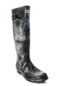 Hunter Womens Slip On Block Heel Knee High Rubber Rain Boots Gray Size 8