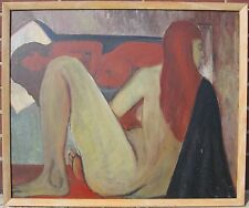 VINTAGE AMERICAN ABSTRACT EXPRESSIONIST WI MID CENTURY MOD REDHEAD NUDE PAINTING