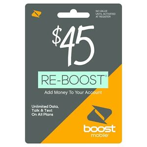Boost Mobile - Re-Boost $45 Prepaid Phone Card Refilled directly to your mobile