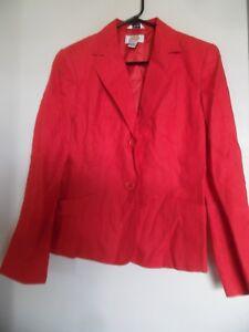 Talbots Red Linen  Blazer  Jacket Career Classic  Sz 4