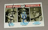 1979 Topps Cardinals Tom Bruno & George Frazier Auto Signed Authentic Autograph