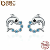 BAMOER S925 Sterling silver Stud Earrings dolphin With Blue CZ For Women Jewelry