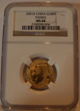 China 2001 D Gold 1/4 oz Panda 100 Yuan NGC MS68