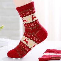 Mens Womens Cute Christmas Socks Warm Winter Wool Socks Snowflake Deer Xmas-: