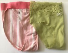 Lot Of 2 Aerie Women's Lace Trim Brief & Hi Leg Green Pink Size XS NWT