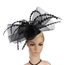 LARGE BLACK SINAMAY FASCINATOR WITH BIG FEATHERS AND CRINOLINE, SPRING RACING