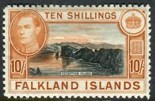 FALKLAND ISLANDS-1949 10/- Black & Red/Orange. A mounted mint example Sg 162b