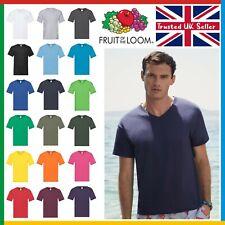 Mens Plain V-NECK T-Shirt • Fruit of the Loom Original Tee • New Value T Shirt