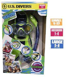 US Divers Kids Snorkeling/Snorkelling Set Mask+Snorkel+Fins Youth Junior Diving