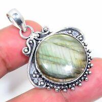 "Birthday Gift Labradorite Ethnic Handmade Silver Jewelry Pendant 1.77"" VJ-5941"