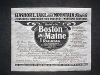 "(761L)RAILROAD BOSTON & MAINE FISHING HUNTING RESORT 1904 ADVERT REPRINT 11""X14"""
