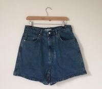 Zara Women Shorts Size 14 Eur 42 Denim Blue High Waist Pockets W32 Jean