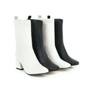 2019 LEATHER Sexy Ladies Womens Fur Lined Block Heel Mid Calf Boots Retro shoes