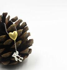 S925 Sterling Silver Adorable Teddy Bear w/ Heart Necklace/18k GP