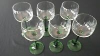Set of 6 Crystal Green Stemmed Wine Goblets Made in France