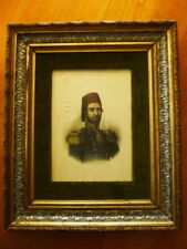ANTIQUE 19C ORIENTAL OTTOMAN ROYAL TURKISH SULTAN SERIGRAPH SILK PORTRAIT TURKEY
