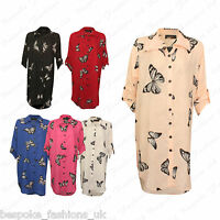 Ladies Women's Plus Size 3/4 Sleeve Chiffon Button Long Shirt Blouse Dress Top