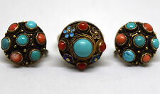 Vintage Chinese Silver, Coral and Turquoise Screwback Earrings & Ring Set