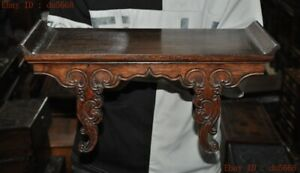 """16""""Old China Chinese Huanghuali wood Hand-carved Ancient small table desk statue"""