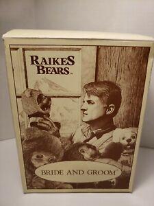 Robert Raikes Plush Wood Carved Bears Bob & Carol Bride Groom Wedding Set #38577