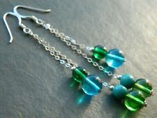 Vintage 1960s Turquoise Blue & Green Glass Beads & Sterling Silver Long Earrings