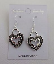 Heart dangle earrings silver base metal crystals