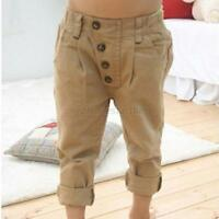 Toddler Kids Boy Baby Casual Khaki Pants Straight-leg Trousers Baby Clothes 2-7Y